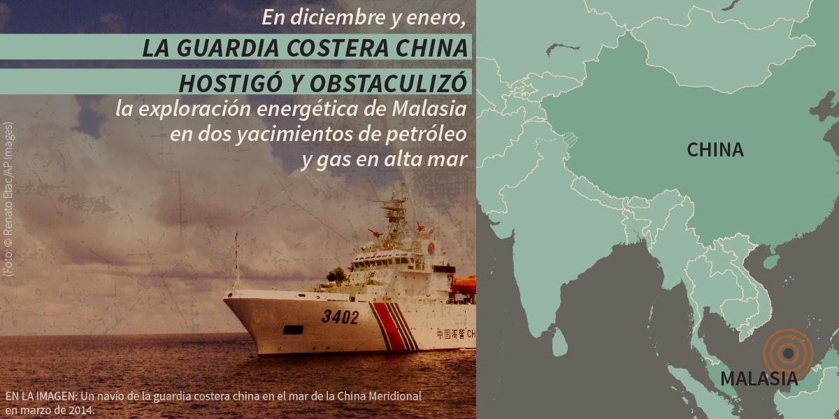 Buque, con un mapa de Asia del Este y una declaración sobre los barcos chinos que amedrentan un proyecto de Malasia (Depto. de Estado./S. Gemeny Wilkinson; foto © Renato Etac/AP Images)