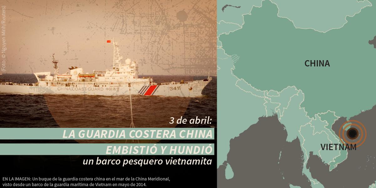 Buque, con un mapa de Asia del Este y una declaración sobre una nave china atacando un barco pesquero vietnamita (Depto. de Estado/S. Gemeny Wilkinson; foto © Nguyen Minh/Reuters)