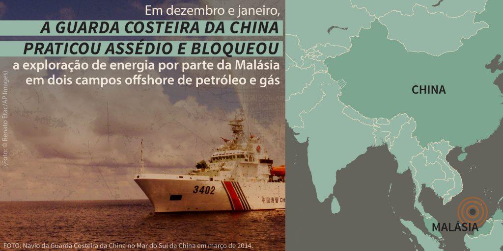 Navio naval, com mapa do leste da Ásia e declaração sobre navios chineses assediando projeto malaio (Depto. de Estado/S. Gemeny Wilkinson; Foto: © Renato Etac/AP Images)