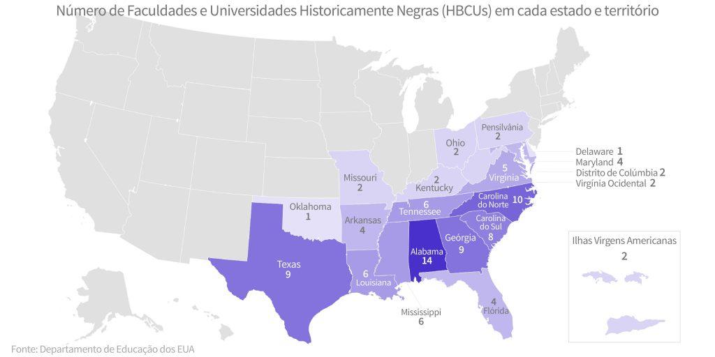 Mapa dos EUA com estados sombreados para mostrar o número de HBCUs (Depto. de Estado/S. Gemeny Wilkinson)