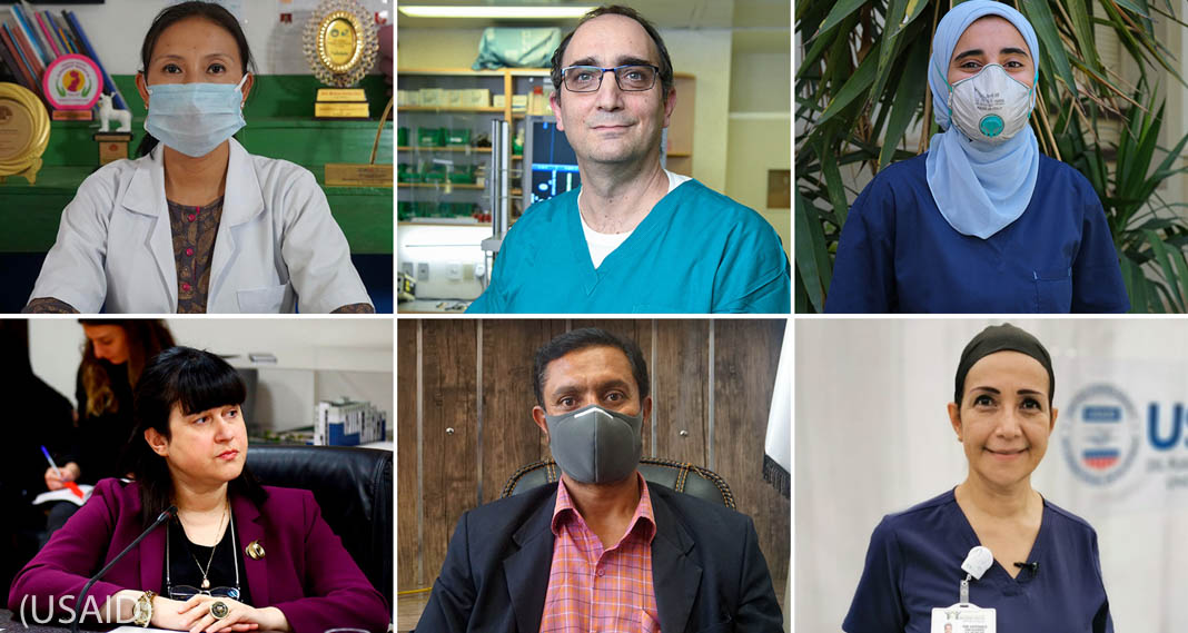 Six close-ups of men and women, three wearing masks (USAID)