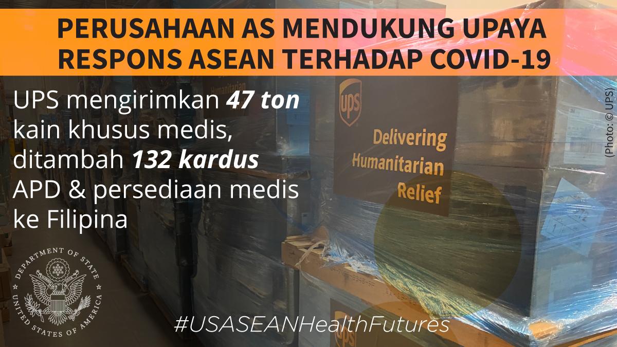 Grafis seputar dukungan dari perusahaan AS untuk upaya respons ASEAN terhadap COVID-19 dengan foto barang persediaan di atas papan kayu (State Dept./Photo: © UPS)