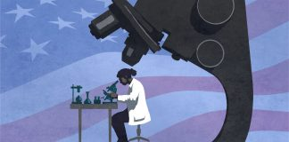 Desenho de cientista fazendo análise utilizando um enorme microscópio (Depto. de Estado/D. Thompson)