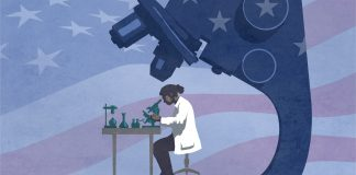 Drawing of scientist at work with huge microscope examining the work (State Dept./D. Thompson)