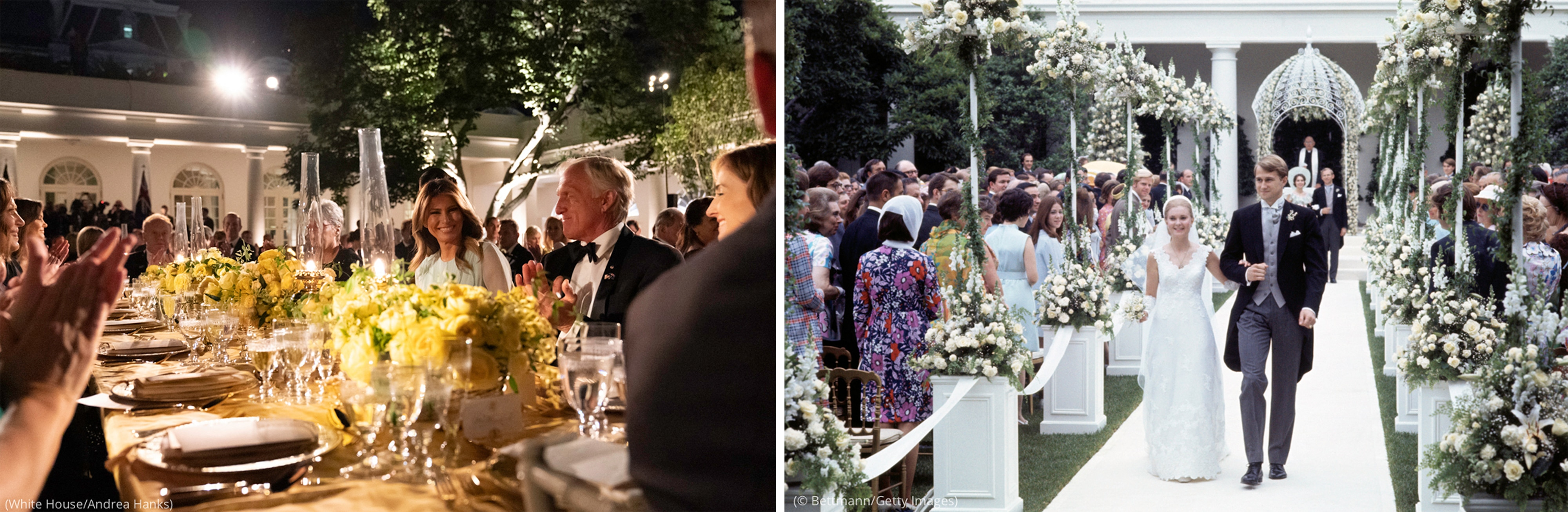 Two photos: People seated at long dinner table (White House/Andrea Hanks) and wedded couple walking down aisle (© Bettmann/Getty Images)