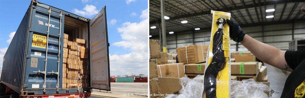 Deux photos : À gauche, un grand nombre de cartons dans la remorque d'un camion. À droite, une main tenant une extension capillaire dans un emballage transparent (CBP)