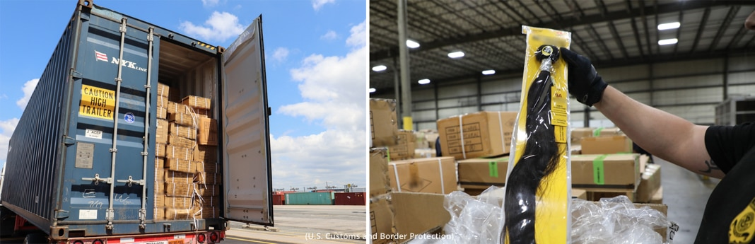 On left, stack of boxes in back of truck. On right, warehouse with hand holding up packaged piece of hair (U.S. Customs and Border Protection)
