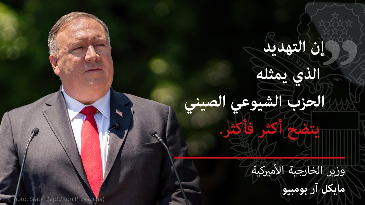 Michael R. Pompeo in front of microphones, with overlaid quote 'The threat from the Chinese Communist Party is becoming clearer and clearer' (State Dept.)