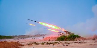 Missiles being launched into the air (© Sepahnews/AP Images)
