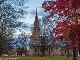 Trees surrounding clock tower and church (© Mark J. Barrett/Alamy)