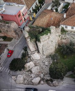 Partially damaged historic building shown from above (© Albanian National Institute for Cultural Heritage)