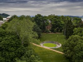 Aerial view of the new Memorial to Enslaved Laborers at UVA (© Sanjay Michael Suchak/UVA Today)