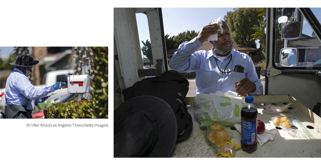 Two pictures: man putting mail into mailbox; man wiping sweat from forehead while standing by door of truck with food and drink inside (© Irfan Khan/Los Angeles Times/Getty Images)