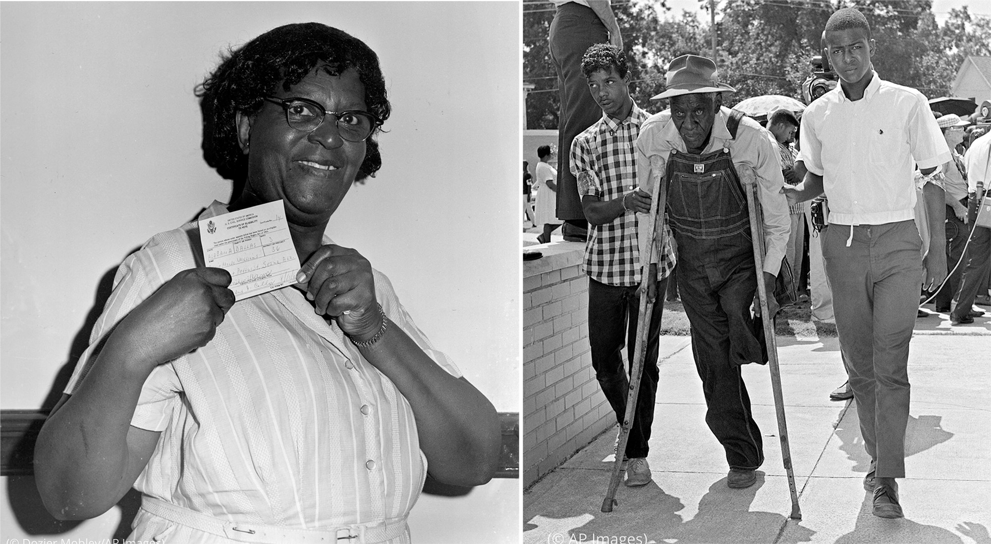 Two photos: Black woman holding up certificate (© Dozier Mobley/AP Images) and one-legged Black man with crutches being helped by two other men (© AP Images)