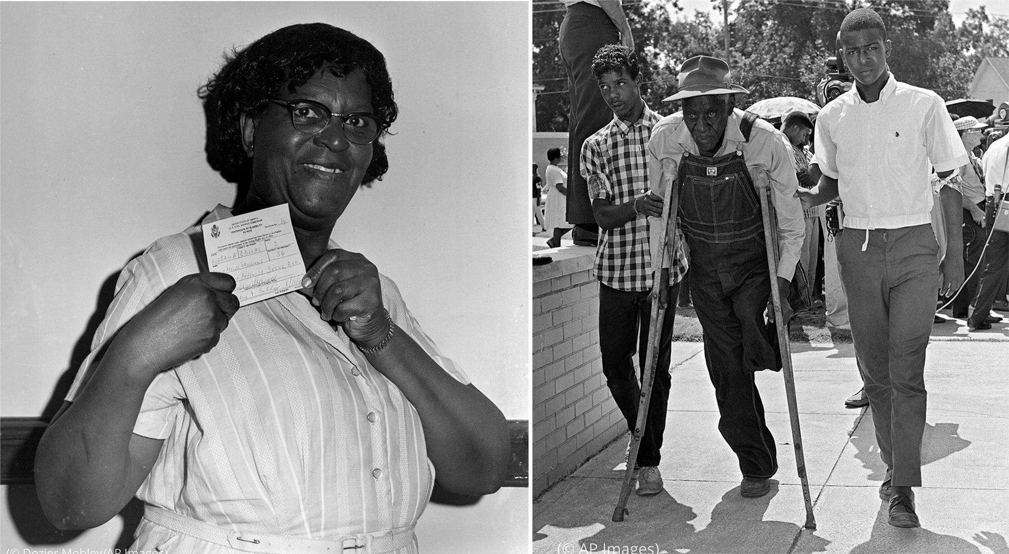 Две фотографии: черная женщина с сертификацией в руках (© Dozier Mobley/AP Images) и одноногий черный мужчина на костылях, которому помогает двое молодых людей (© AP Images)
