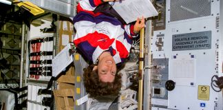 Woman floating upside down (NASA)
