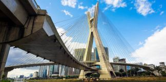 The Octavio Frias de Oliveira Bridge, or Ponte Estaiada, in Sao Paulo, Brazil (©