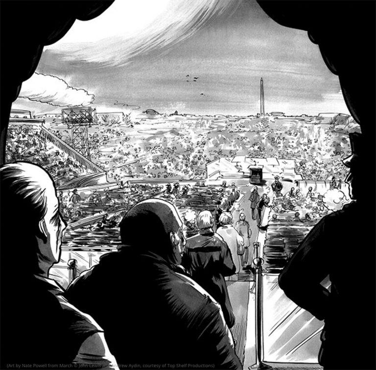 সাদা-কালো শিল্পকর্মে দেখানো হয়েছে লিঙ্কন মেমোরিয়াল থেকে সমাবেশকে দেখছে, পেছনে ওয়াশিংটন স্মৃতিস্তম্ভ দেখা যাচ্ছে (মার্চ-এ নেট পাওয়েলের আঁকা ছবি © জন লুইস এবং অ্যান্ড্রু আইডিন, সৌজন্যে টপ শেলফ প্রোডাকশনস)
