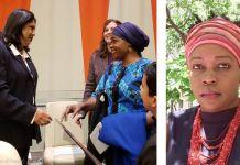 Montage photo avec, à gauche, deux femmes sur le point de se serrer la main, et à droite, un portrait photo de Rita M. Lopidia (U.S. Institute of Peace)