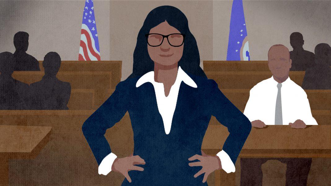 Ilustración de una mujer en traje y con anteojos de pie en la sala de un juzgado con los brazos apoyados en la cadera (Depto. de Estado/D. Thompson)