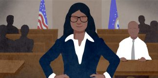 Illustration of woman in suit and glasses standing in courtroom with arms akimbo (State Dept./D. Thompson)