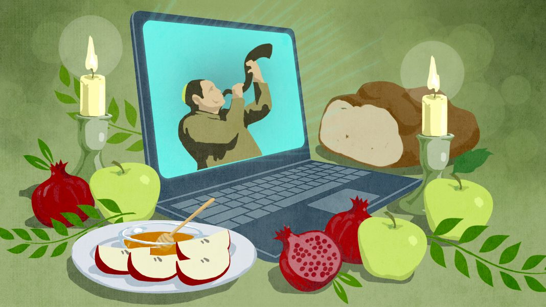 Illustration of laptop with man onscreen blowing shofar, next to candles and holiday foods