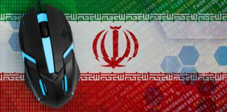 Image of computer mouse sitting on top of Iranian flag (© Shutterstock)