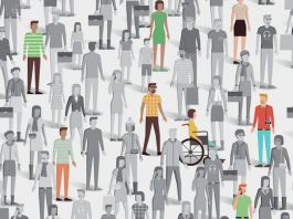 Drawing of crowd of people with some individuals highlighted (© Elenabsl/Shutterstock)