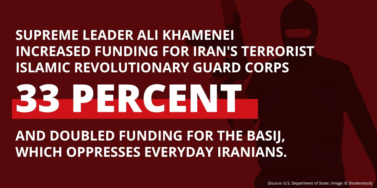 Graphic with illustration of armed, masked militant and text stating funding increases for terrorist and oppressive Iranian groups (State Dept./B. Insley)