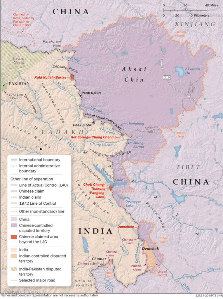 China-India western sector boundary map (State Dept.)