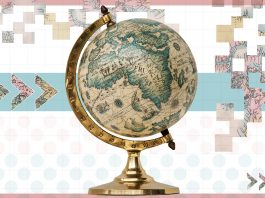 افریقہ کے پرانے نقشے والا گلوب