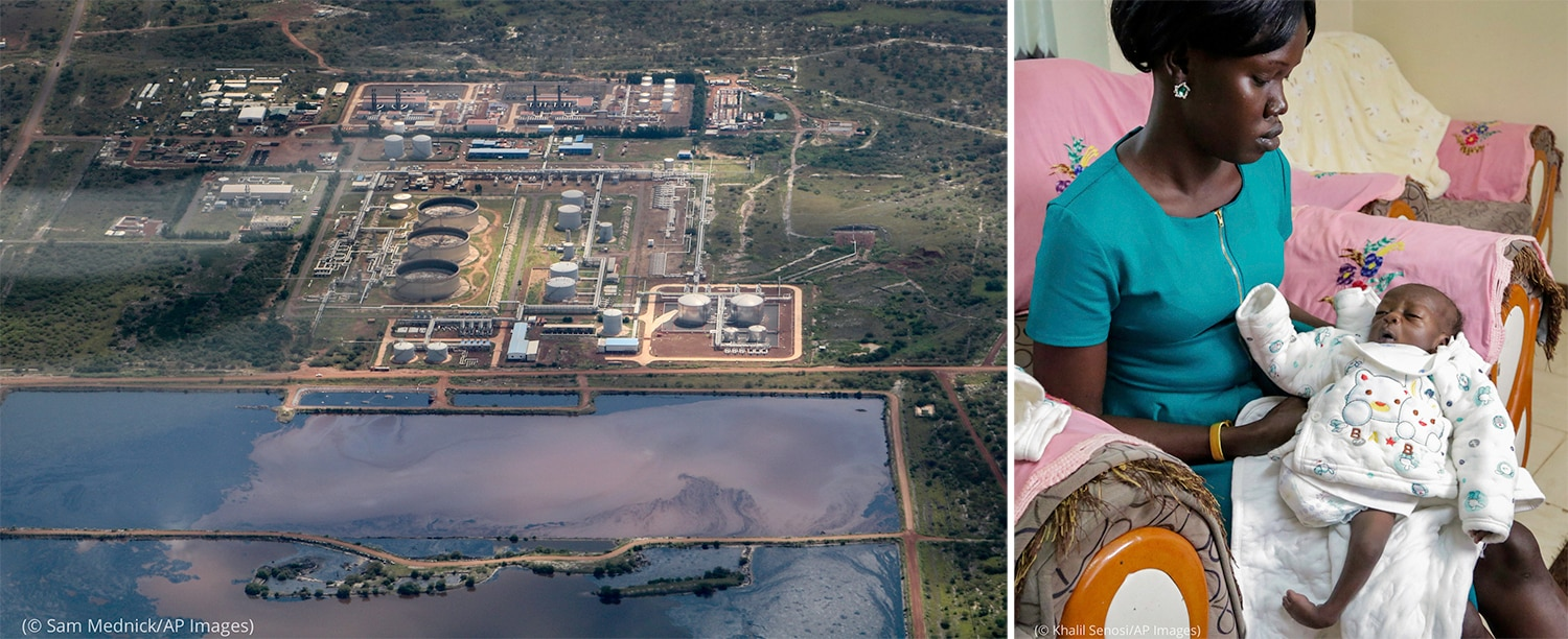 Left: Polluted water next to oil field shown from above (© Sam Mednick/AP Images) Right: Woman holding baby with one deformed leg (© Khalil Senosi/AP Images)
