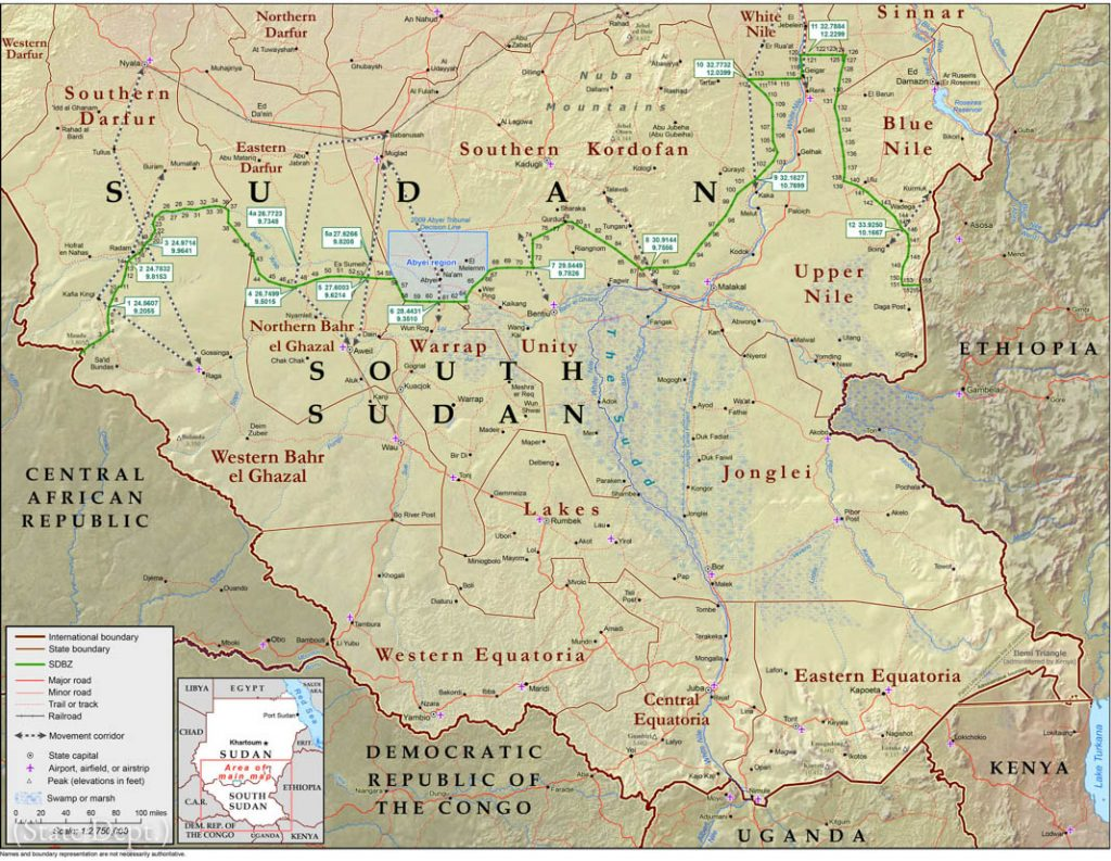 Map of South Sudan, with parts of Sudan and surrounding countries (State Dept.)