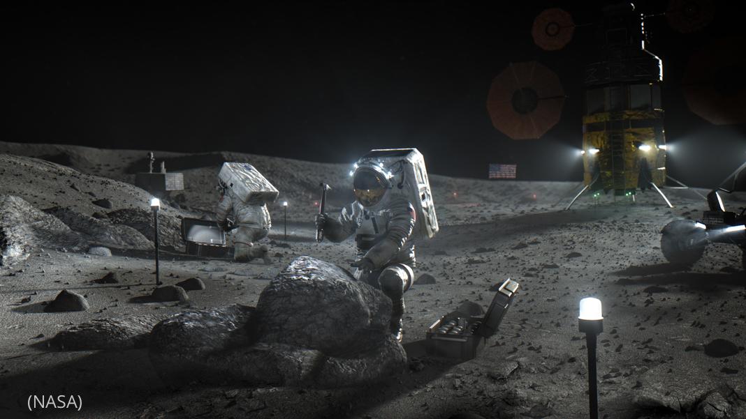 Illustration showing Artemis astronauts on the Moon (NASA)