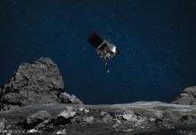 Ilustrasi wahana antariksa menjulurkan probe ke permukaan berbatu (NASA/Goddard/University of Arizona)