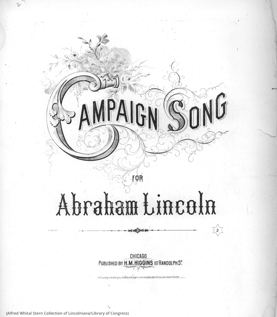 Couverture d'une partition du chant de campagne « Campaign Song » (Alfred Whital Stern Collection of Lincolniana/LOC)