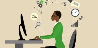 Illustration of woman sitting at desk with computer monitor surrounded by symbols