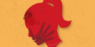 Illustration with red silhouette of woman's head and handprint over her mouth (© Shutterstock)