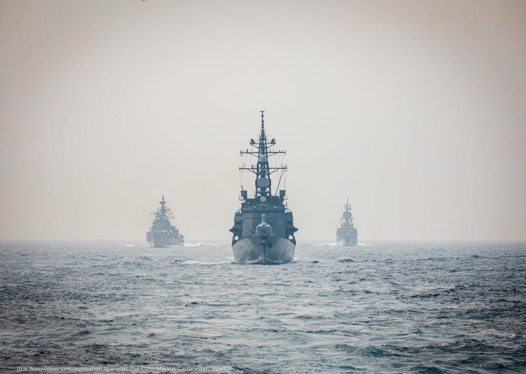 Three Navy ships on open water (U.S. Navy/Mass Communication Specialist 2nd Class/Markus Castaneda)