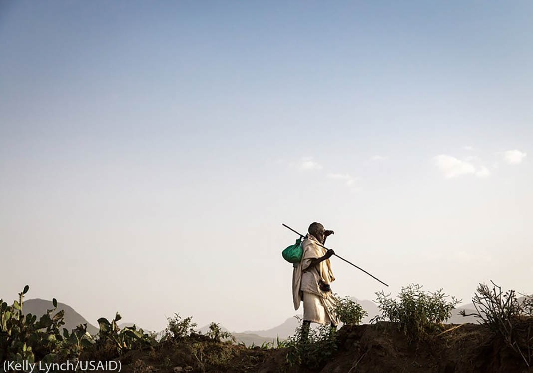 Man on hill holding walking stick (Kelly Lynch/USAID)