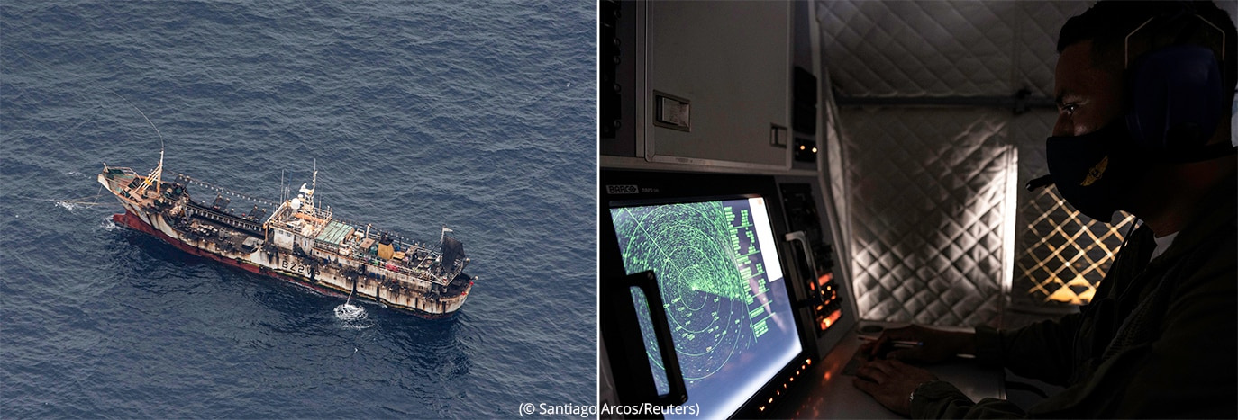 Left: Aerial view of fishing boat. Right: Person in darkened room looking at radar screen (© Santiago Arcos/Reuters)