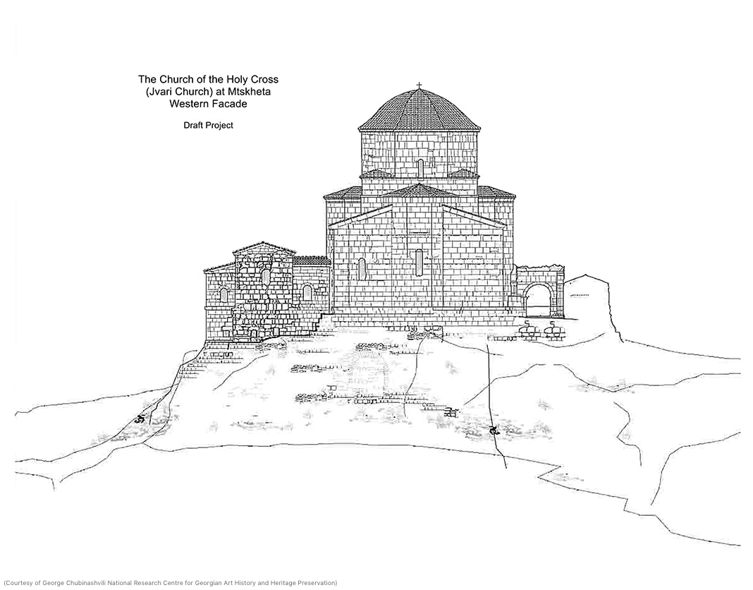Drawing of Jvari Monastery (Courtesy of George Chubinashvili National Research Centre for Georgian Art History and Heritage Preservation)