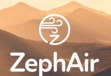 سکرین پر زیف ایئر ایپ پر ہوا کی علامت اور دور کے پہاڑوں کا تصویری خاکہ۔ (State Dept.)