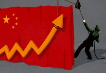 Illustration of uniformed person hoisting an economic indicator arrow from behind a curtain made of the Chinese flag (State Dept./D. Thompson)