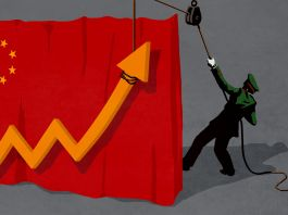 Illustration of uniformed figure hoisting an arrow representing profitability of Chinese p