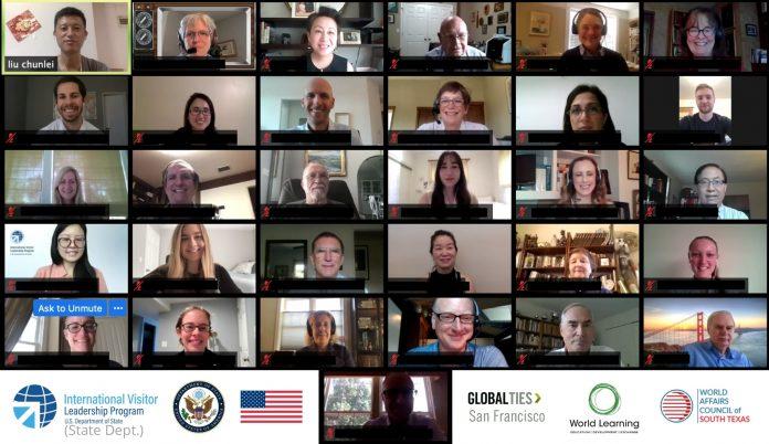 ایک آن لائن اجلاس کے دوران کئی ایک چھوٹی سکرینوں پر موجود چہروں کی تصویر (State Dept.)