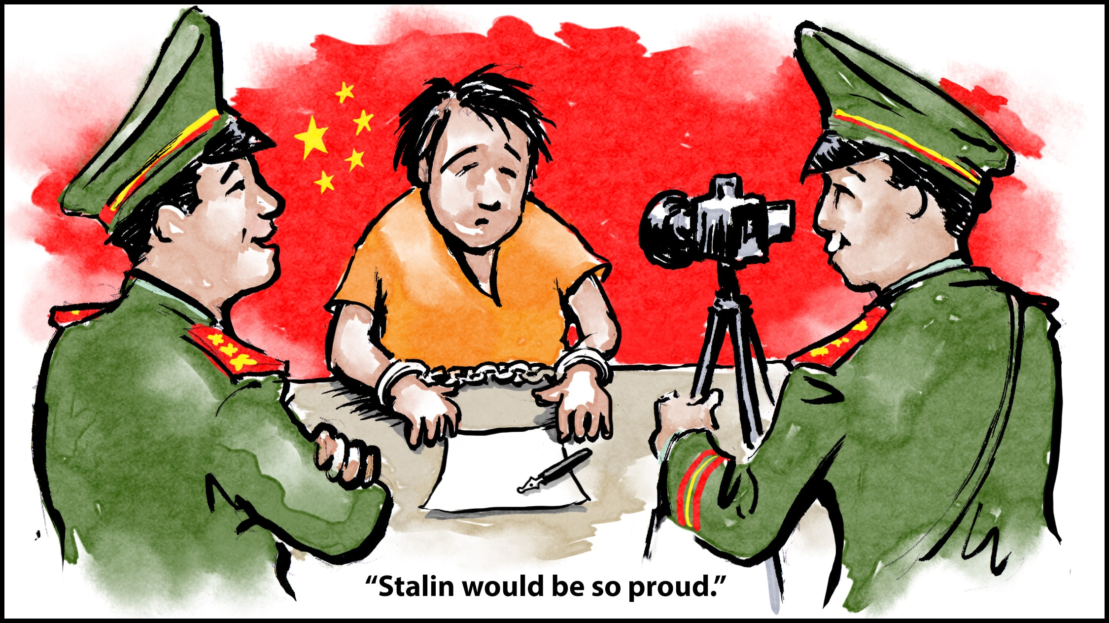 Cartoon showing man in handcuffs being questioned in front of camera as one Chinese official says 'Stalin would be so proud' to another Chinese official (State Dept./D. Thompson)