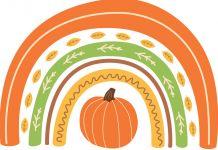 Fall rainbow with pumpkin Cute autumn greeting card. Background for fall season. Baby rainbow. Thanksgiving time (© Tatiana Kuzmina/Shutterstock)