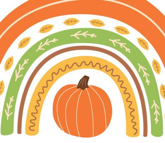 Rainbow of autumn symbols and colors surrounding pumpkin (© Tatiana Kuzmina/Shutterstock)