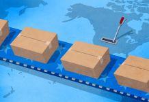 Ilustração de esteira transportadora movendo caixas sobre um mapa do globo (Depto. de Estado/D. Thompson)